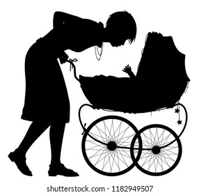 Editable vector silhouette of a young mother interacting with her baby in a pram with mother as a separate element