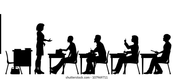 Editable vector silhouettes of adult students and a teacher in a classroom with all elements as separate objects