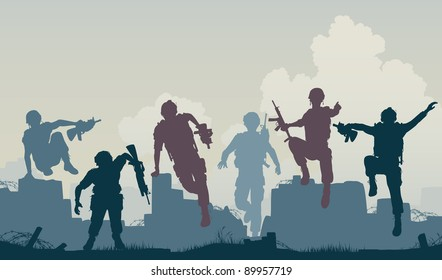 Editable vector silhouettes of armed soldiers charging forward