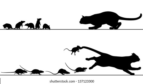 Editable vector silhouettes of a cat stalking rats which then chase it with all elements as separate objects