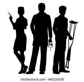 Editable vector silhouettes of a doctor and nurse medical team