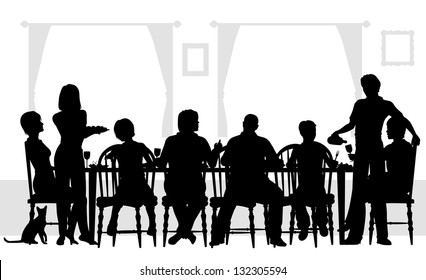 Editable vector silhouettes of a family dining together with all elements as separate objects