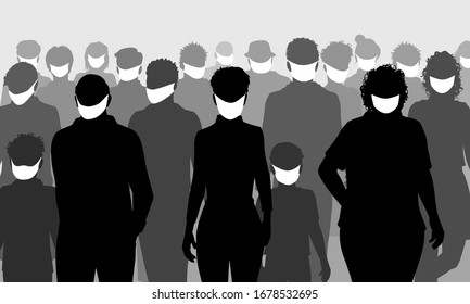 Editable vector silhouettes of a group of people all wearing facemasks