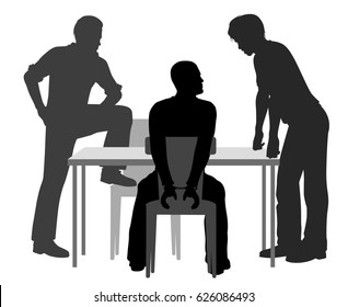 Editable vector silhouettes of a handcuffed man being interrogated by two detectives