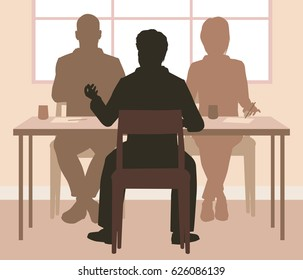 Editable vector silhouettes of a man being interviewed by a panel of two people