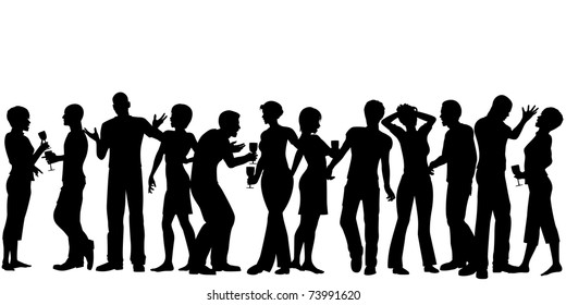Editable vector silhouettes of men and women standing at a party with every person as a separate object