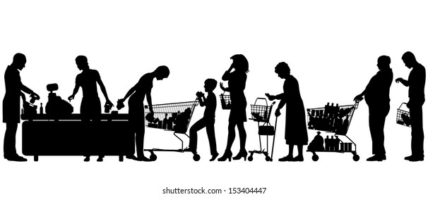 Editable vector silhouettes of people in a supermarket checkout queue with all elements as separate objects