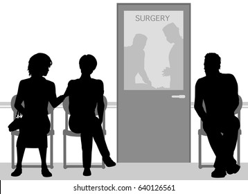 Editable vector silhouettes of people waiting during an operation on a family member or friend