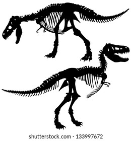 Editable vector silhouettes of the skeleton of a Tyrannosaurus rex dinosaur