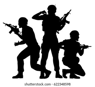 Editable vector silhouettes of three soldiers fighting as a team with figures as separate objects