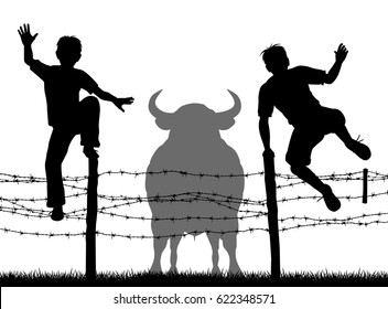 Editable vector silhouettes of two boys jumping over a barbed wire fence to escape a bull with all figures as separate objects