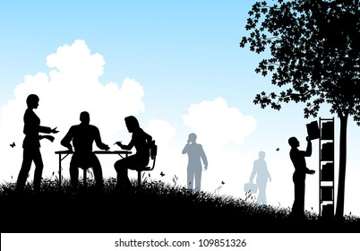 Editable vector silhouettes of workers in a meadow office