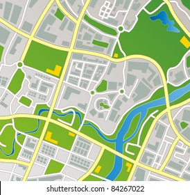 Editable vector street map of a fictional generic town.