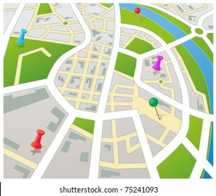 Editable vector street map of a generic city with push pins