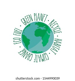 Editable vector. World symbol with text. Ecology image.
