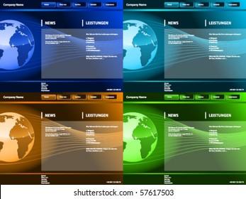 Editable web site template, earth waves