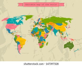 World Map With Countries Images, Stock Photos & Vectors   Shutterstock