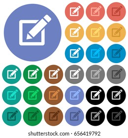 Editing box with pencil multi colored flat icons on round backgrounds. Included white, light and dark icon variations for hover and active status effects, and bonus shades on black backgounds.