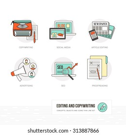 Editing, copywriting and journalism concepts, thin line icons and objects set
