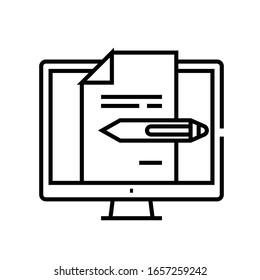 Editieren von Dateien Zeilensymbol, Concept-Zeichen, Umriss der Vektorillustration, Linearsymbol.