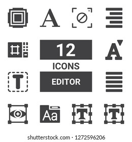 editor icon set. Collection of 12 filled editor icons included Text editor, Font, Focus, Justify, Align right, Editor