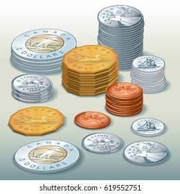 Editorial Illustration of / Canadian Coins / Easy to edit and select objects in groups and layers, gradients used.