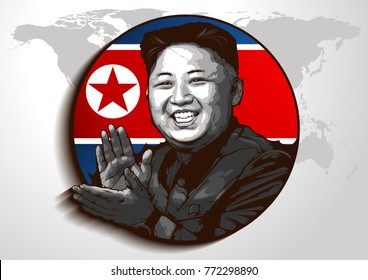 editorial use only. Portrait of Kim Jong-un. North Korean leader, Commander of the North Korea People's Army. Became North Korean leader 17 December 2011.