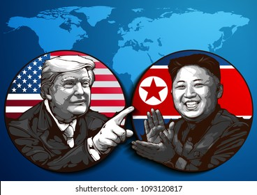 editorial use only, Portrait of U.S. President Donald Trump and North Korean Leader Kim Jong-un, The meeting will take place on June 12, 2018 in Singapore, Portrait Drawing vector illustration May 17,