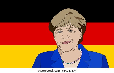 Editorial vector portrait of Angela Merkel, Chancellor of Germany on German flag background.