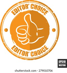 Editors choice orange label - icon and stamp isolated on white background. Vector Illustration