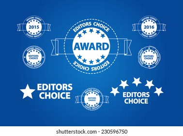 Editors Choice Quality Product Award Blueprint Icons