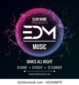 EDM Club Music Party Template, Dance Party Flyer, brochure. Night Party Club sound Banner Poster discotheque