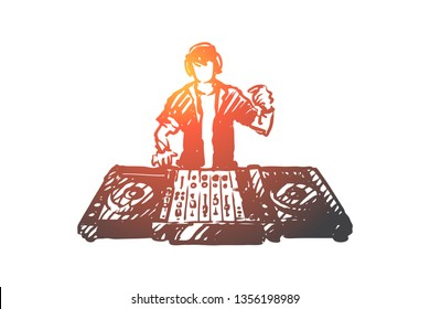 EDM, DJ, party, music, club concept. Hand drawn DJ play music on EDM party concept sketch. Isolated vector illustration.