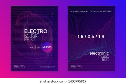 Edm flyer. Dynamic fluid shape and line. Trendy discotheque invitation set. Neon edm flyer. Electro trance music. Techno dj party. Electronic sound event. Club dance poster.