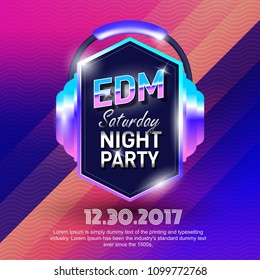 EDM party poster design electronic music vector template background