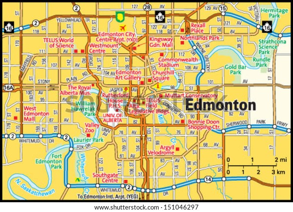 Edmonton Alberta Area Map Stock Vektorgrafik Lizenzfrei