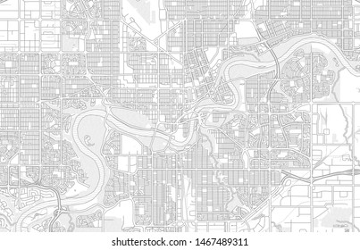 Edmonton, Alberta, Canada, bright outlined vector map with bigger and minor roads and steets created for infographic backgrounds.