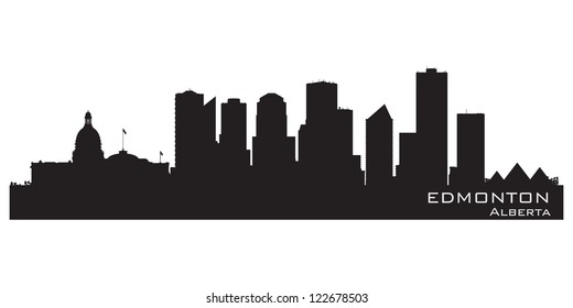 Edmonton, Canada skyline. Detailed silhouette. Vector illustration