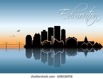 Edmonton skyline - Canada - vector illustration