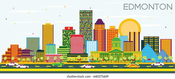 Edmonton Skyline with Color Buildings and Blue Sky. Vector Illustration. Business Travel and Tourism Concept with Modern Buildings. Image for Presentation Banner Placard and Web Site.
