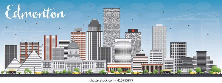 Edmonton Skyline with Gray Buildings and Blue Sky. Vector Illustration. Business Travel and Tourism Concept with Modern Buildings. Image for Presentation Banner Placard and Web Site.