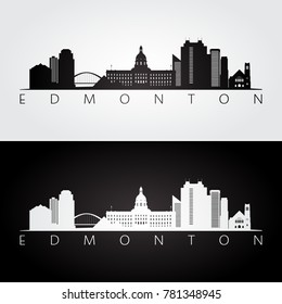 Edmonton skyline and landmarks silhouette, black and white design, vector illustration.