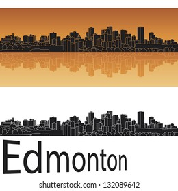Edmonton skyline in orange background in editable vector file