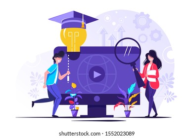 EdTech vector illustration. Flat tiny educational technology learning person concept. Symbolic visualization about study and ethical practice of facilitating improving processes, knowledge development