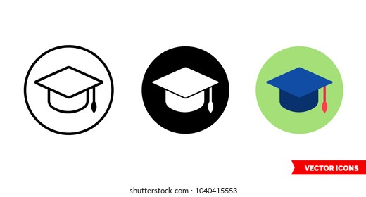 Edu icon of 3 types: color, black and white, outline. Isolated vector sign symbol.