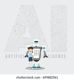 Educated boy and robot with AI mechanism