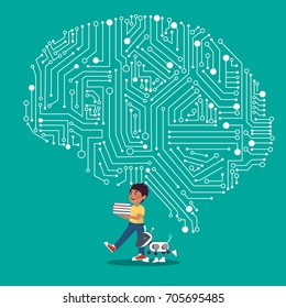 Educated boy and robot with brain mechanism