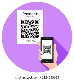 Educated, young, smart, and stylish man uses cell phone to scan QR code to make an online payment. Flat design. (Replace the QR code with yours).