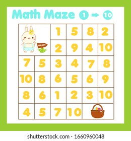 Educatiional children game. Mathematics maze. Labyrinth with numbers. Count from one to ten. Easter theme activity for preschool toddlers and kids