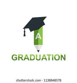 Educatio logo with bachelor or graduation hat and flat pencil